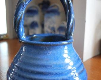 Handmade farmhouse kitchen cobalt blue handled pottery basket