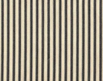 """18"""" Full Gathered Bedskirt, Black Ticking Stripe"""