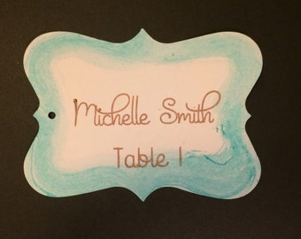 Wedding Place Card, Water Color, Caligraphy, Handmade
