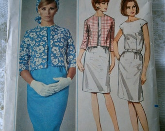 "Vintage Pattern Butterick 60''s ""Jackie O"" style suit cropped jacket-pencil skirt/ wiggle dress"
