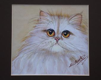 Abigail-OOAK-painted white cat painting-gouache-acrylic-Watercolour portrait of white cat-БЕЛЫЙ КОТ-watercolor cat