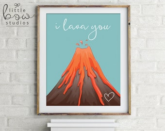Printable Wall Art: I Lava You, Volcano Illustration, Home Decor, Nursery Decor, Unique Mother's Day Gift, Valentine's Day Gift, Pun Prints