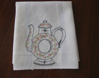 Very Cute Vintage Linen Kitchen/Hand Towel with Embroidered Teapot