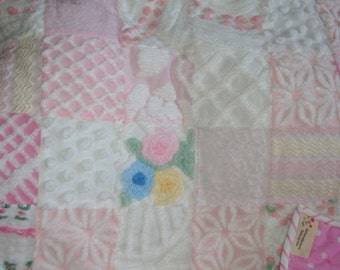 """CUSTOM ORDER SAMPLE [sold] Vintage Chenille Baby Quilt in Pink, Pink Polka Dot Flannel Backing, Heirloom Quality  """"Cotton Candy"""""""