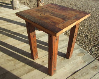 Rustic Heart Pine Reclaimed Barnwood Tall Pub Table