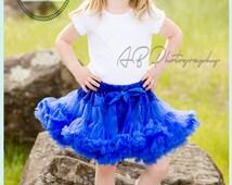 Royal Blue Pettiskirt, Petticoat, ruffle baby skirt, baby girl tutu, fancy posh girls toddler petti skirt blue independence day Inspired
