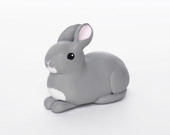 Grey / gray bunny rabbit polymer clay miniature figurine