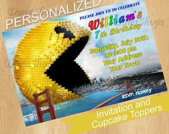 Pixels invitation, Pixels Birthday Invite, PERSONALIZED, Digital File