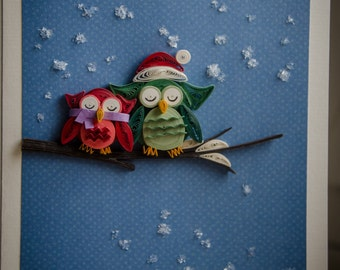 Greeting Cards - Quilling Owl Pair
