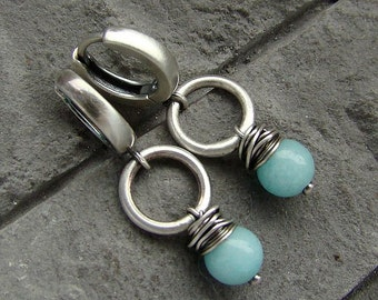Sterling silver and mint jade earrings