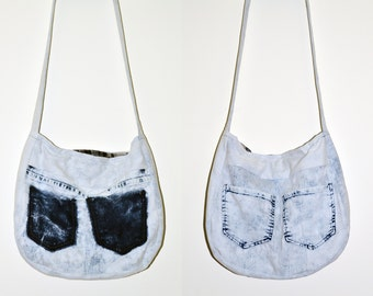 Shoulder bag made from a pair of jeans, 100% recycled.
