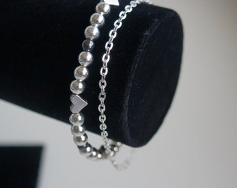 Silver plated bracelet, silver plated beads bracelet, antic silver beads, hematite bracelet