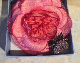 Liz Claiborne Flower and Bug/Butterfly Pin, Vintage Liz Claiborne Brooch