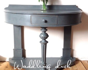 "Mid Victorian ""French Painted"" Demi Lune Side Table"