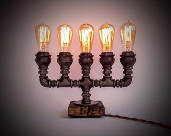 SALE: -25% OFF! Candlestick lamp, Table lamp, Edison lamp, Steampunk lamp, Edison table lamp, Industrial table lamp, Industrial lighting