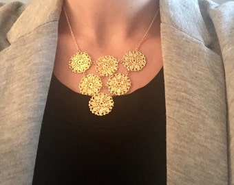 Gold bib necklace, gold necklace