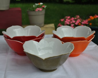 Art Deco - Cluster of colorful Lotus Bowls