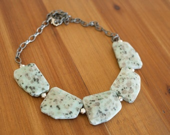 Mint Green Chunky Stone Statement Necklace, Sesame Jasper Necklace, Natural Stone Necklace, Seafoam Green Necklace, Light Green Necklace