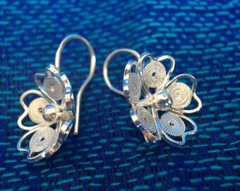 Filigree Hand-made Earrings,  Silver, Dangle, Petite Rose, PR14