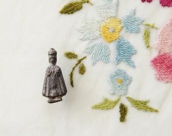 "1 1/8"" Tall Vintage Antique Holy Infant of Prague Pocket Shrine Statuette Miniature Statue"