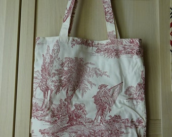 French oldies style Toile de Jouy cotton bag (1)