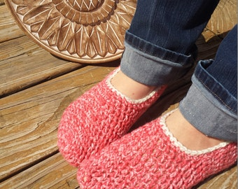 Comfy Coral Women's Slippers, Coral, Slipper Socks, House Shoes, Comfy Soft, Unique Gift, Gift for Her, Hand Crochet, Pink Chunky Socks