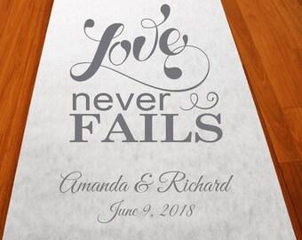 Personalized Love Never Fails Aisle Runner (MIC-PLNFAR51)