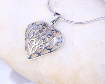 Silver heart pendant, Sterling Silver chain, Silver charm pendant,  Carved heart silver necklace, 925 silver, Bohemian necklace (P 28)