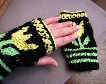 Free Shipping /Black Short  Fingerless Knit Gloves with Tulip Pattern /Girl Hat