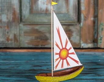 Yellow sunny wooden sailboat / Handmade Sailboat / Bark boat / Interior decoration / Wooden ship / Handmade toy / Gift for him