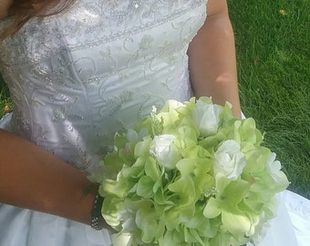 Wedding, White, green, Roses, beaded, bouquet, silk
