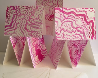 Set of 6 One of a Kind Pink Party Cards