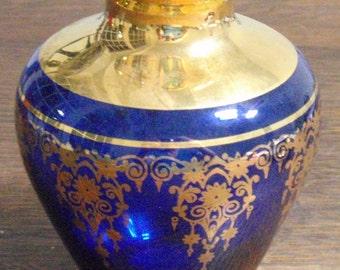 Murano Gold Plated Cobolt Blue Vase