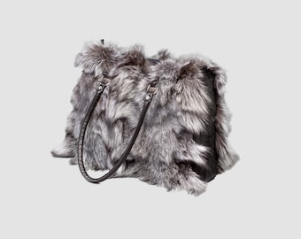 Silver Fox Fur Bag, Real Fox Fur Handbag, Shoulder Bag,Clutch, Birkin, Handmade