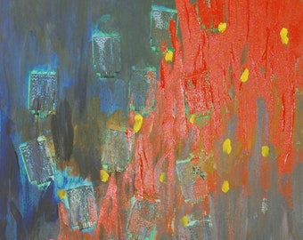 """Logic vs. Emotions original acrylic painting by Minnie Yeh, 48"""" x 24"""", abstract, portion of proceed to support Dyslexia at Understood.org."""