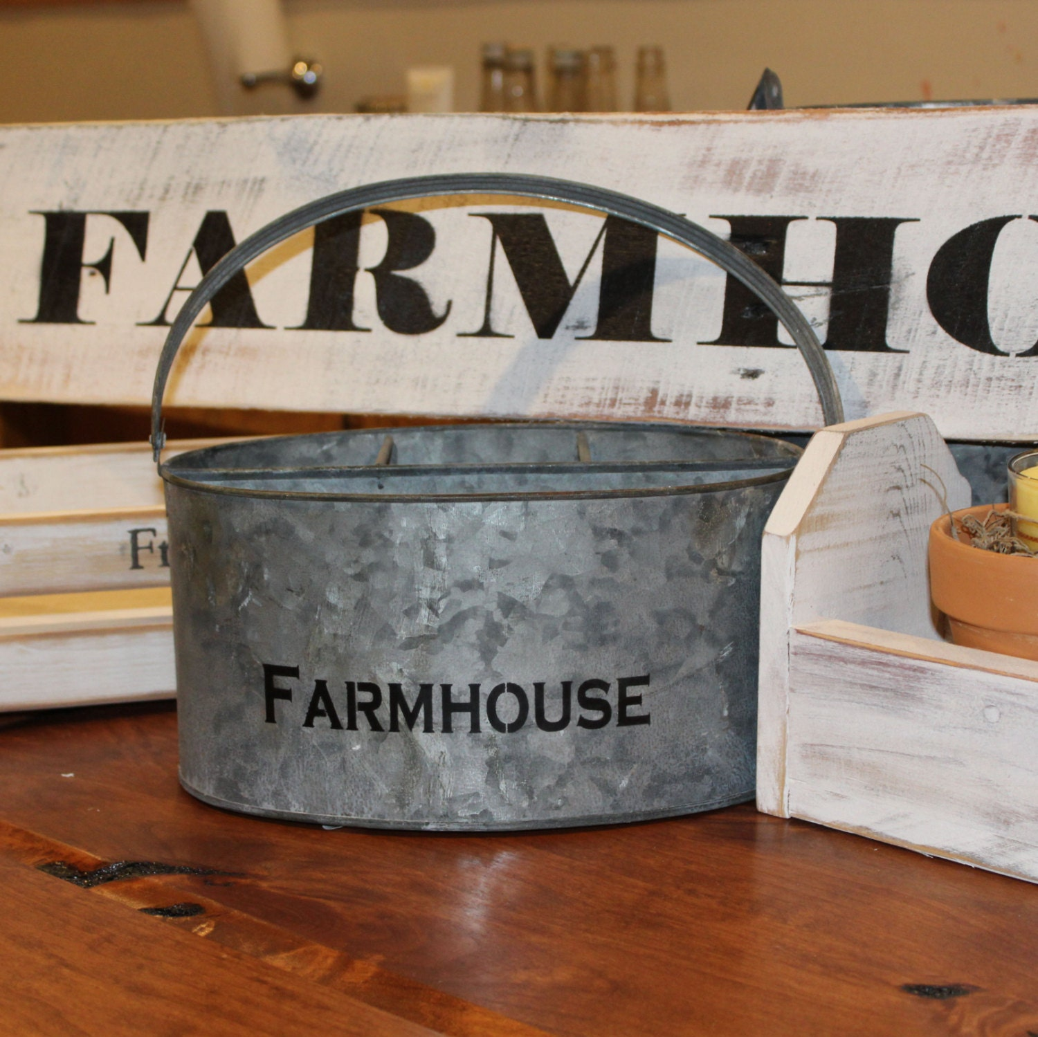 Farmhouse Metal Utensil Holder Rustic Farm Style Caddy