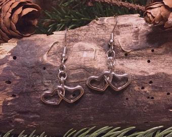 SALE-Drop Earrings-Silver Colored-Hearts Charm