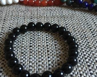 Natural black Onyx 8mm Round Beads(24pce strand)