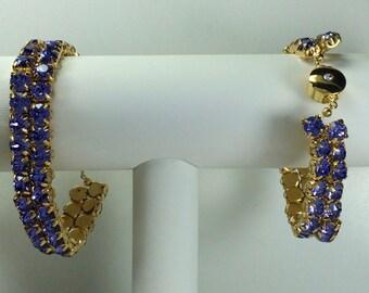 Tanzanite Glitterati Bracelet - Swarovski Crystals, Magnetic Clasp, Gold Plate