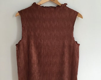 Micro pleat mock neck top in dark copper