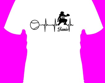 Fastpitch softball personalized Heartbeat Catcher-Tshirt