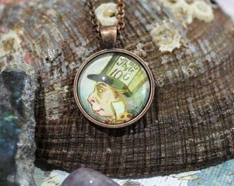 Mad Hatter, vintage Alice in Wonderland Handmade Round Glass Tile-in-Tray Pendant Necklace