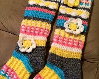 Crochet Knee High Socks with Flower Embellishments