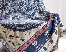 Star Map Constellation Throw Blanket/Warm blanket/knit blanket/Cotton blanket