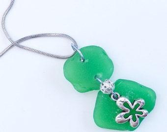 Green Ireland. Green sea glass pendant.