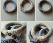 Set of 3 wet felted bangles, blues and greys, beads and buttons.
