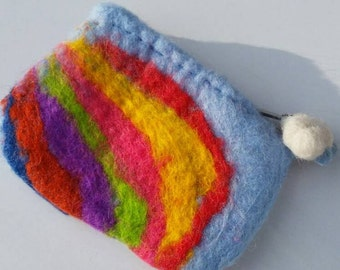 Rainbow wet felted coin purse with needle felted rain cloud charm.