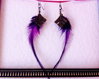 Bronze and purple feather earrings