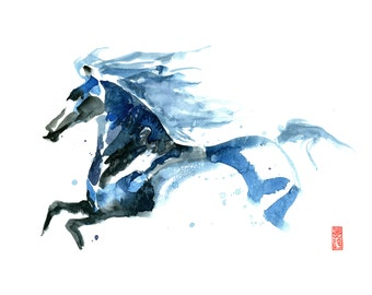 Blue Stallion Watercolor Abstract Painting Fine Art Giclee Print/ Horse abstract painting / Running horse painting / Animal / Wildlife