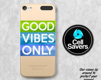 Good Vibes Only Clear iPod 5 Case iPod 6 Case iPod 5th Generation iPod 6th Generation Rubber Case Gen Clear Case Watercolor Streaks Quotes